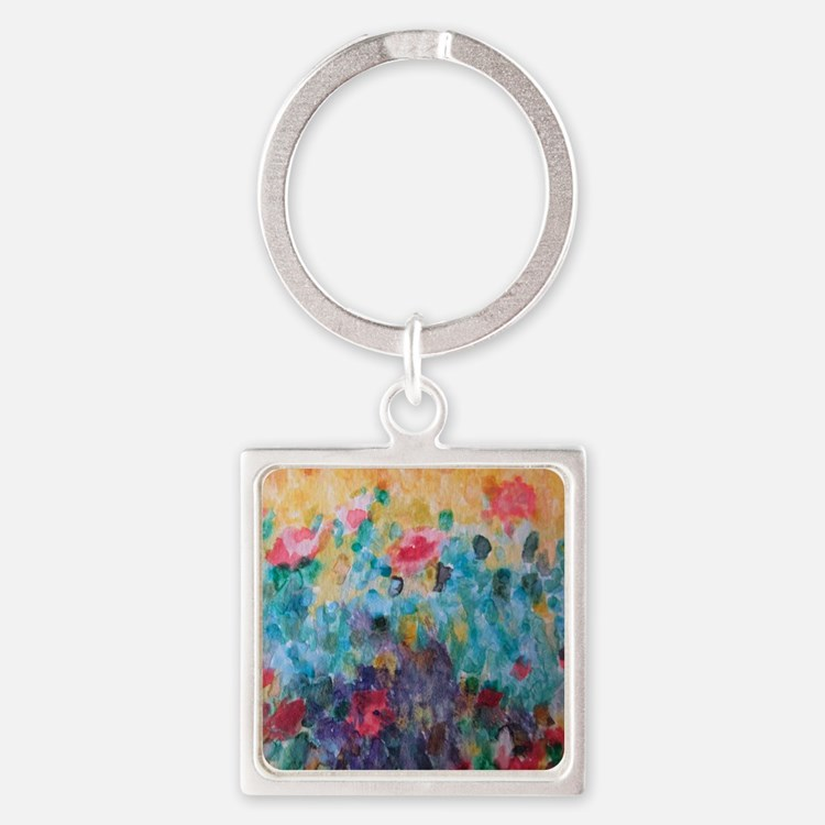 Flowers Everywhere Square Keychain