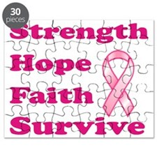 Strength Hope Faith Survive - Pink Puzzle