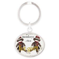 sockmonkey_roundpkr Oval Keychain