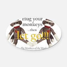 Sock Monkey Letting Go Oval Car Magnet