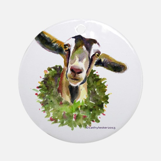 Christmas Goat Round Ornament
