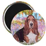 Basset in the Garden Magnet