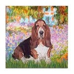 Basset in the Garden Tile Coaster