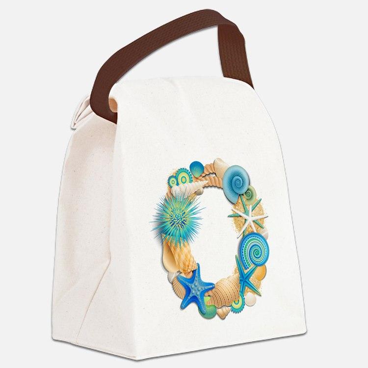 Beach Theme Initial O Canvas Lunch Bag