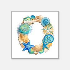 "Beach Theme Initial O Square Sticker 3"" x 3"""