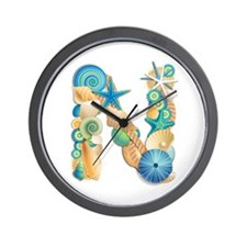 Beach Theme Initial N Wall Clock