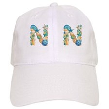 Beach Theme Initial N Baseball Cap