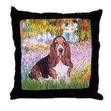 Basset in the Garden Throw Pillow