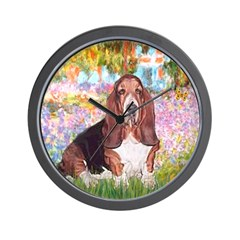 Basset in the Garden Wall Clock