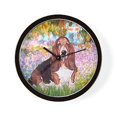 Basset in the Garden Wall Clock