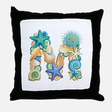 Beach Theme Initial M Throw Pillow
