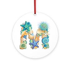 Beach Theme Initial M Round Ornament