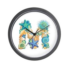 Beach Theme Initial M Wall Clock
