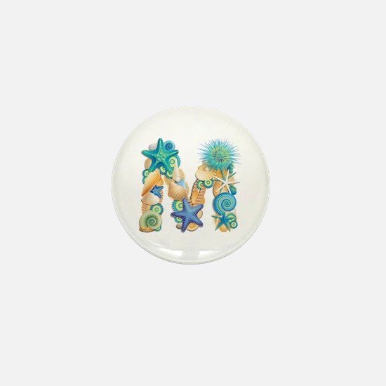 Beach Theme Initial M Mini Button