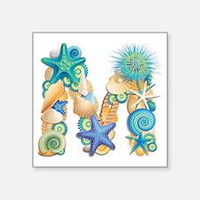 "Beach Theme Initial M Square Sticker 3"" x 3"""