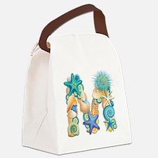 Beach Theme Initial M Canvas Lunch Bag