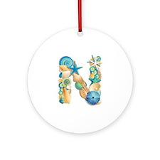 Beach Theme Initial N Round Ornament
