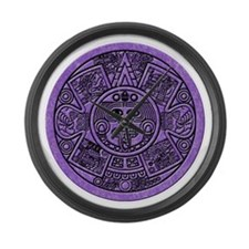 MayanCal_Purple Large Wall Clock