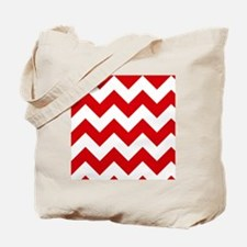 Red and White Chevron Pattern Tote Bag