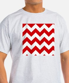 Red and White Chevron Pattern T-Shirt