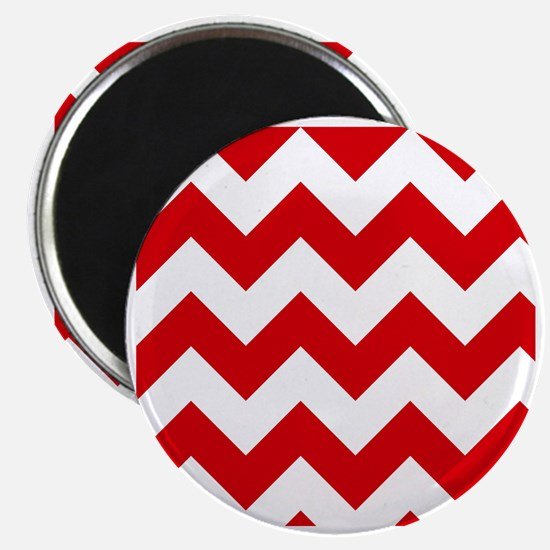 Red and White Chevron Pattern Magnet