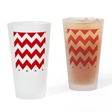 Red and White Chevron Pattern Drinking Glass