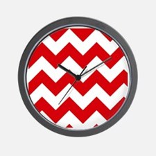 Red and White Chevron Pattern Wall Clock