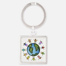 peace love multicultural children Square Keychain