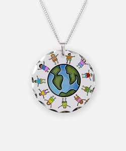 peace love multicultural chi Necklace