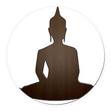 Sitting Wood Buddha Round Car Magnet