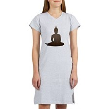 Sitting Wood Buddha Women's Nightshirt