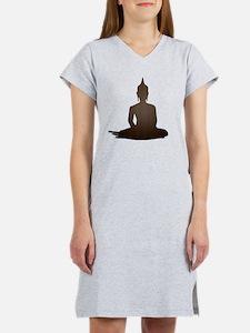 Sitting Wood Buddha Women's Nightshirt