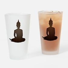 Sitting Wood Buddha Drinking Glass