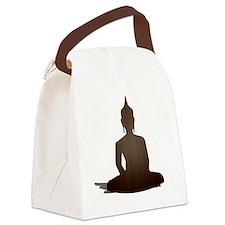 Sitting Wood Buddha Canvas Lunch Bag