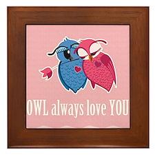 Romantic Owls Framed Tile