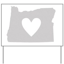Heart Oregon state silhouette Yard Sign