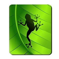 Frog Shape on Green Leaf Mousepad