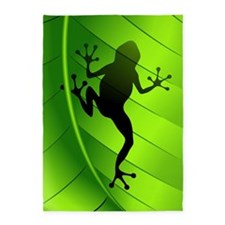 Frog Shape on Green Leaf 5'x7'Area Rug