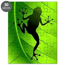 Frog Shape on Green Leaf Puzzle
