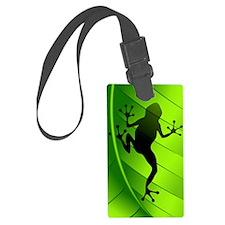 Frog Shape on Green Leaf Luggage Tag