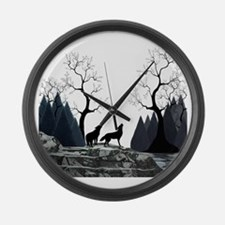 Howling Wolves Large Wall Clock