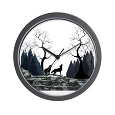 Howling Wolves Wall Clock