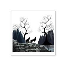 "Howling Wolves Square Sticker 3"" x 3"""