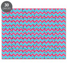 Chevron Pattern Aqua Blue and Pink Zigzag Puzzle