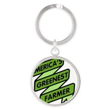 Greenest Farmer Round Keychain