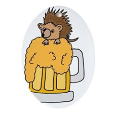 Hedgehog in Beer Cartoon Oval Ornament