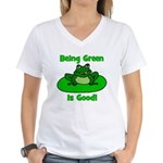Being Green Frog Women's V-Neck T-Shirt