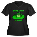 Being Green Frog Women's Plus Size V-Neck Dark T-S