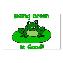 Being Green Frog Rectangle Decal