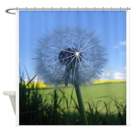shiny dandelion shower curtain